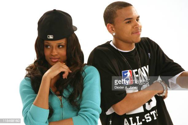 Ciara and Chris Brown during BET's Rip the Runway 2007 Promo Shoot March 5 2007 at City Stage in New York City New York United States