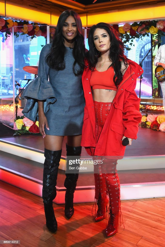 Ciara (L) and Halsey pose during the 2017 American Music Awards nominations announcement at Good Morning America Studios on October 12, 2017 in New York City.