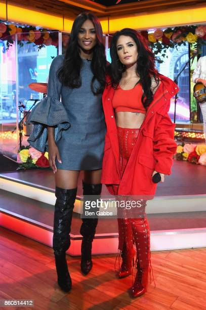 Ciara and Halsey pose during the 2017 American Music Awards nominations announcement at Good Morning America Studios on October 12, 2017 in New York...
