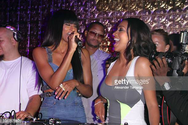 Ciara and LaLa Vasquez attend bachelorette party for LaLa Vasquez at Lux nightclub on June 18 2010 in Miami Beach Florida