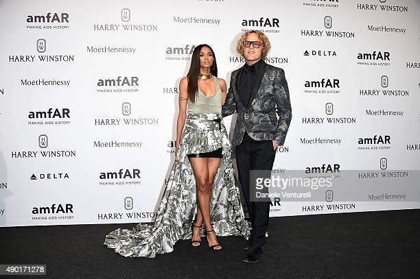 Ciara and Peter Dundas arrive at amfAR Milano 2015 at La Permanente on September 26 2015 in Milan Italy