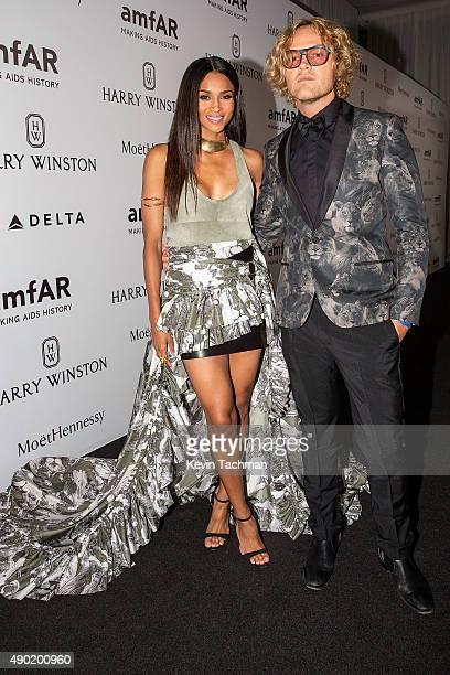 Ciara and Peter Dundas attend amfAR Milano 2015 at La Permanente on September 26 2015 in Milan Italy