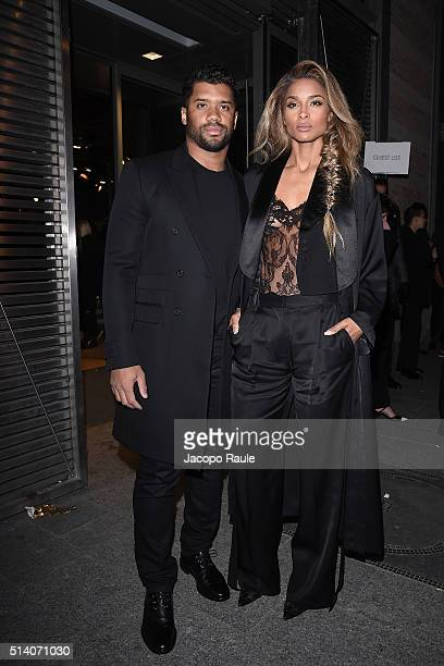 Ciara and Russell Wilson are seen arriving at Givenchy Fashion Show during the Paris Fashion Week Womenswear Fall Winter 2016/2017 on March 6 2016 in...