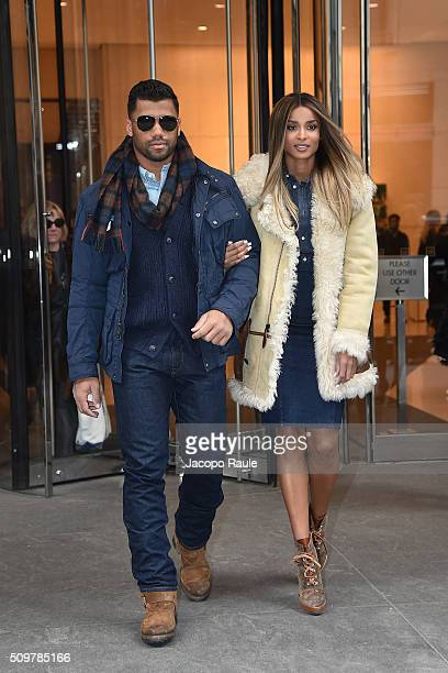 Ciara and Russell Wilson are seen leaving the Polo Ralph Lauren presentation during Fall 2016 New York Fashion Week on February 12 2016 in New York...