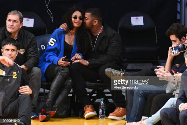 Ciara and Russell Wilson attend a basketball game between the Los Angeles Lakers and the Orlando Magic at Staples Center on March 7 2018 in Los...