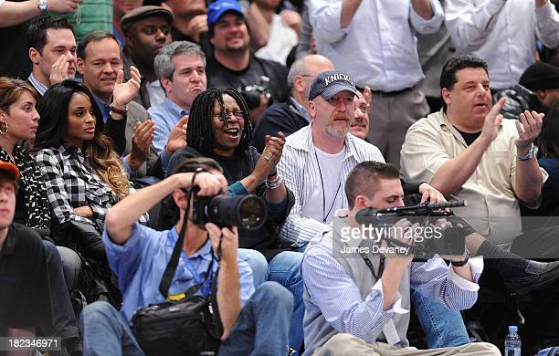 Ciara and Whoopi Goldberg guest and Steve Schirripa attend Cleveland Cavaliers vs New York Knicks game at Madison Square Garden on February 4 2009 in...