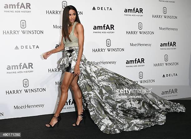 Ciara arrives at amfAR Milano 2015 at La Permanente on September 26 2015 in Milan Italy