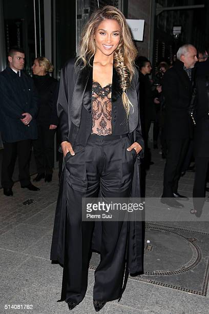 Ciara arrives at the Givenchy show as part of the Paris Fashion Week Womenswear Fall/Winter 2016/2017 on March 6 2016 in Paris France