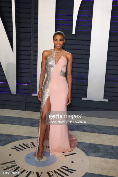 Ciara arrives for the 2019 Vanity Fair Oscar Party at the Wallis Annenberg Center for the Performing Arts on February 24 2019 in Beverly Hills...