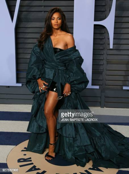 Ciara attends the 2018 Vanity Fair Oscar Party following the 90th Academy Awards at The Wallis Annenberg Center for the Performing Arts in Beverly...
