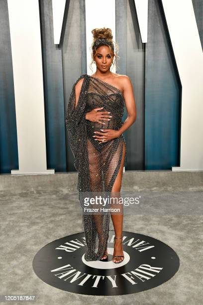 Ciara attends the 2020 Vanity Fair Oscar Party hosted by Radhika Jones at Wallis Annenberg Center for the Performing Arts on February 09 2020 in...