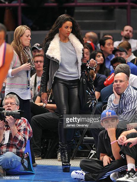 Ciara attends the Utah Jazz vs New York Knicks game at Madison Square Garden on March 7 2011 in New York City