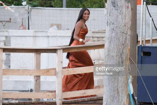 Ciara is seen during the Dolce&Gabbana Alta Moda show on August 29, 2021 in Venice, Italy.