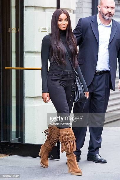Ciara is seen leaving the IMG Models office on August 11, 2015 in New York City.
