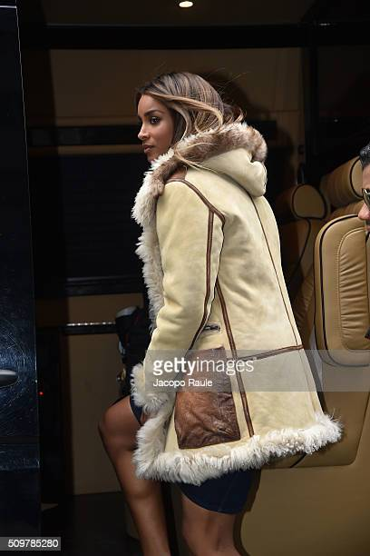 Ciara is seen leaving the Polo Ralph Lauren presentation during Fall 2016 New York Fashion Week on February 12 2016 in New York City