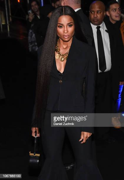 Ciara is seen wearing a black suit outfit outside the Versace PreFall 2019 Collection on December 2 2018 in New York City