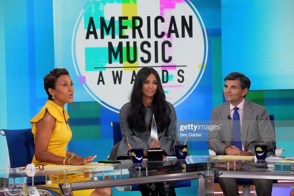 Ciara (C) joins Good Morning America anchors Robin Roberts (L) and George Stephanopoulos as she announces the 2017 American Music Awards nominations at Good Morning America Studios on October 12, 2017 in New York City.