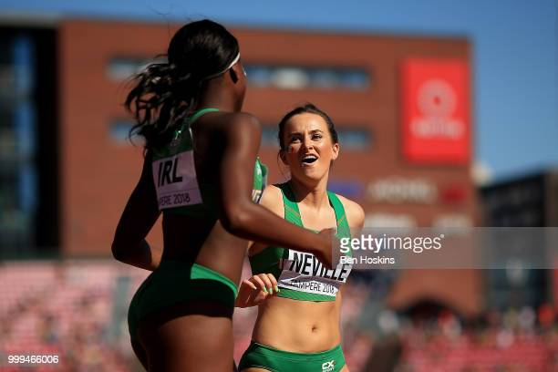 Ciara Neville and Patience Jumbo Gula of Ireland celebrate after winning silver in the final of the women's 4x100m relay on day five of The IAAF...