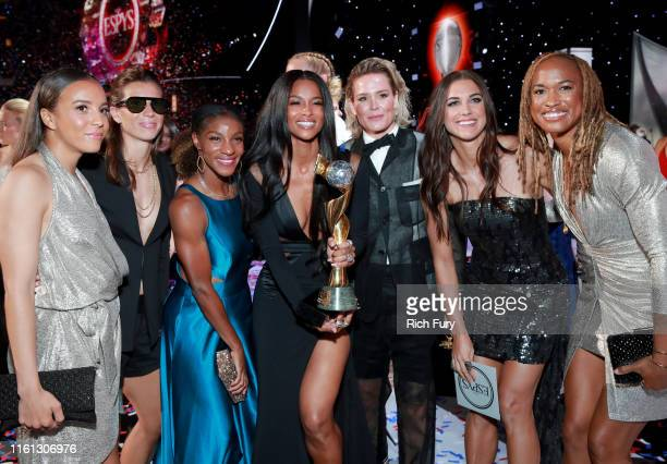 Ciara poses with the Best Team award for The United States Women's National Soccer Team onstage during The 2019 ESPYs at Microsoft Theater on July 10...