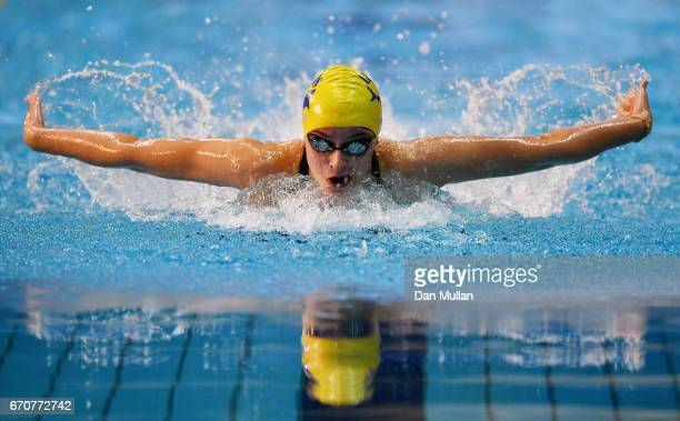 Ciara Schlosshan of Co Leeds competes in the Womens Junior 200m Butterfly final on day three of the British Swimming Championships at Ponds Forge on...