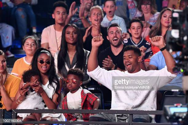 Ciara Sienna Princess Wilson Future Zahir Wilburn and NFL player Russell Wilson attend the Nickelodeon Kids' Choice Sports 2018 at Barker Hangar on...