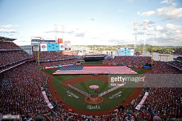 Ciara sings the National Anthem prior to the start of the 86th MLB AllStar Game at Great American Ball Park in Cincinnati on Tuesday July 14 2015 in...