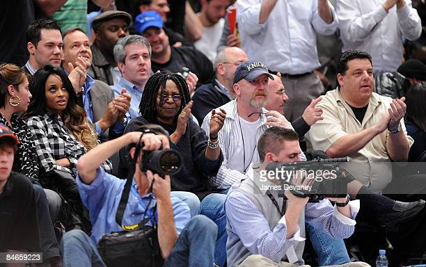 Ciara Whoopi Goldberg guest and Steve Schirripa attend Cleveland Cavaliers vs New York Knicks game at Madison Square Garden on February 4 2009 in New...