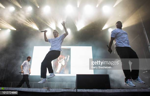 Ciaran 'Bearface' McDonald Russell Boring aka JOBA and Dominic Michael Simpson aka Dom McLennon of Brockhampton perform at Lollapalooza 2018 in Grant...