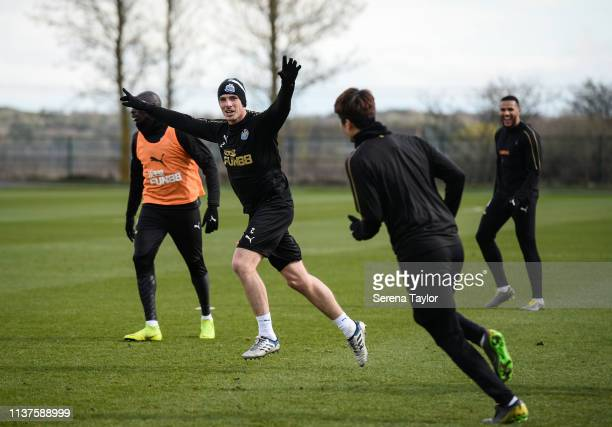 Ciaran Clark celebrates after Ki SungYueng scores his third goal during the Newcastle United Training Session at the Newcastle United Training Centre...