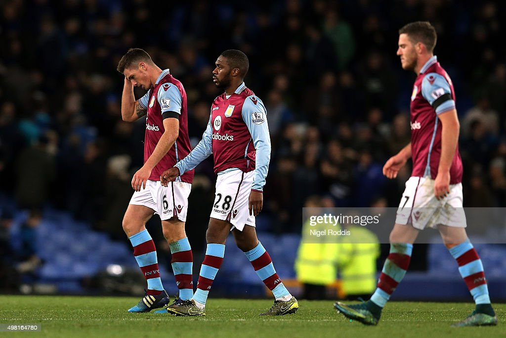 Ciaran Clark, Charles N'Zogbia and Jordan Veretout of Aston Villa leave the pitch after his team's 0-4 defeat in the Barclays Premier League match between Everton and Aston Villa at Goodison Park on November 21, 2015 in Liverpool, England.