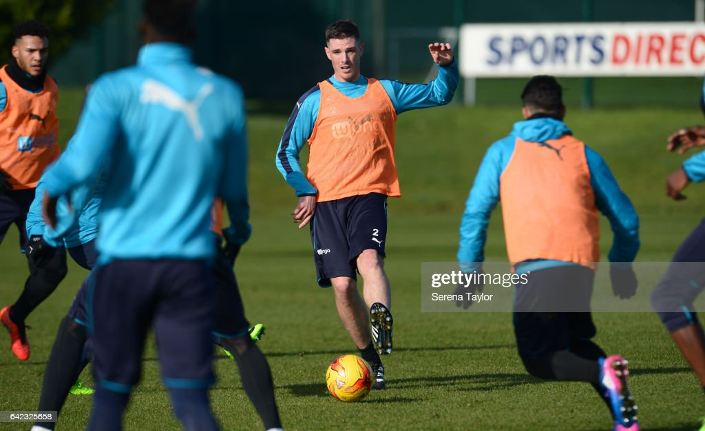 Ciaran Clark controls the ball during the Newcastle United Training Session at The Newcastle United Training Centre on February 17, 2017 in Newcastle upon Tyne, England.