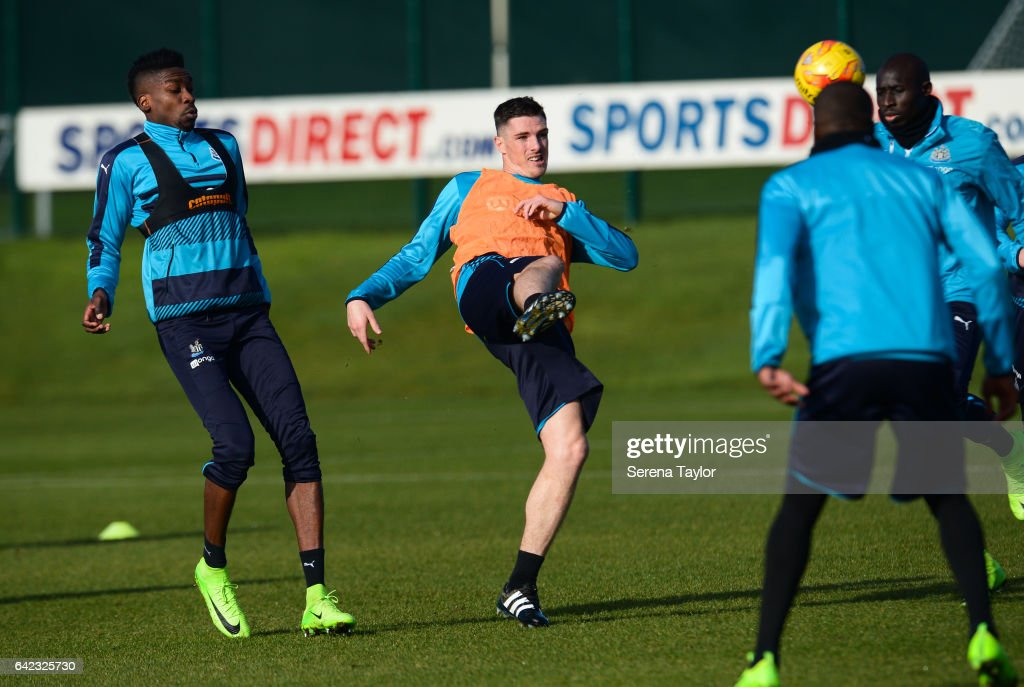 Ciaran Clark kicks the ball during the Newcastle United Training Session at The Newcastle United Training Centre on February 17, 2017 in Newcastle upon Tyne, England.