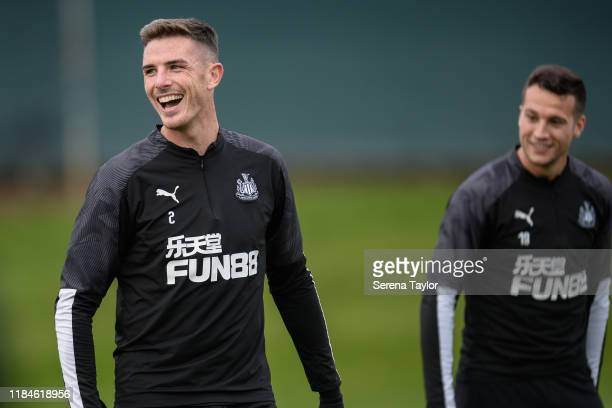Ciaran Clark laughs during the Newcastle United Training Session at the Newcastle United Training Centre on October 31, 2019 in Newcastle upon Tyne,...