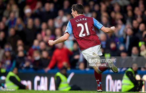 Ciaran Clark of Aston Villa celebrates after scoring his team's third goal during the Barclays Premier League match between Chelsea and Aston Villa...