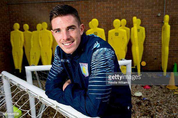 Ciaran Clark of Aston Villa poses for a picture at the club's training ground at Bodymoor Heath on January 23 2015 in Birmingham England