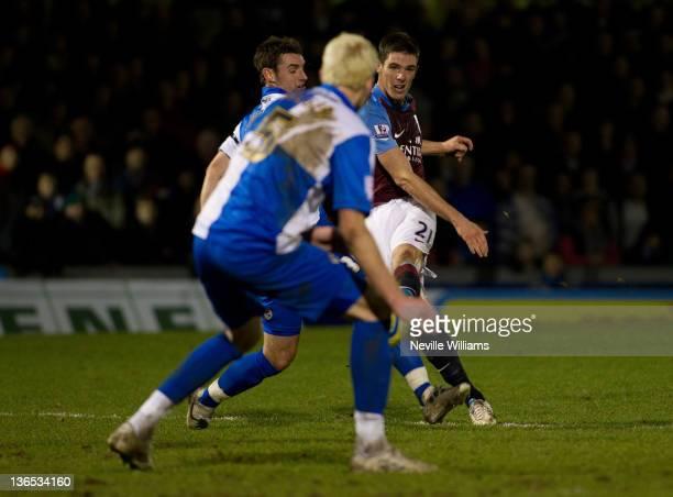 Ciaran Clark of Aston Villa scores a goal during the FA Cup Third Round match between Bristol Rovers and Aston Villa at Memorial Stadium on January 7...