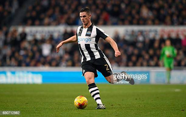 Ciaran Clark of Newcastle in action during the Sky Bet Championship match between Newcastle United and Nottingham Forest at St James' Park on...