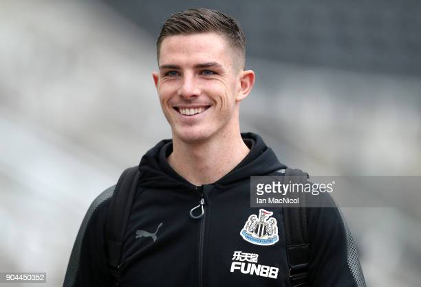 Ciaran Clark of Newcastle United arrives at the stadium prior to the Premier League match between Newcastle United and Swansea City at St James Park...