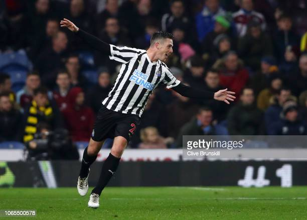 Ciaran Clark of Newcastle United celebrates after scoring his team's second goal during the Premier League match between Burnley FC and Newcastle...