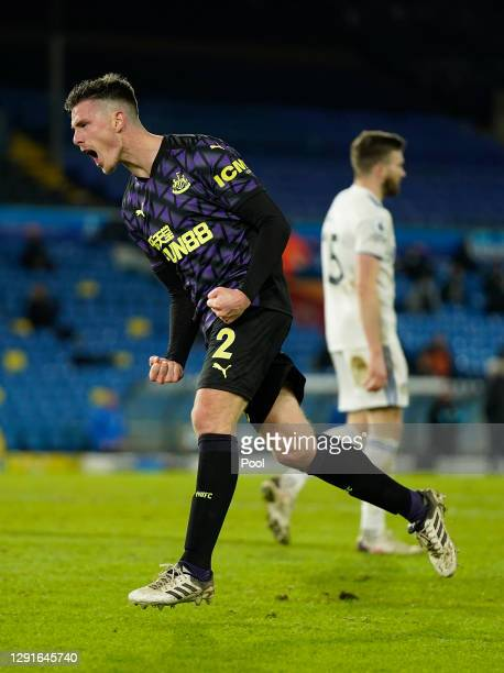 Ciaran Clark of Newcastle United celebrates after scoring their team's second goal during the Premier League match between Leeds United and Newcastle...