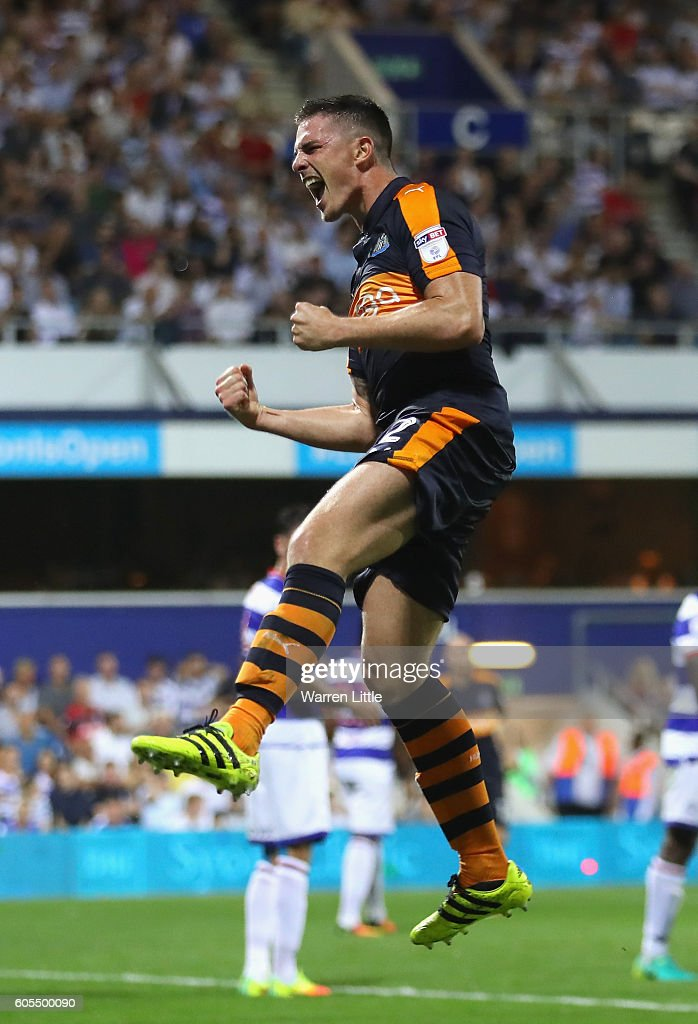 Ciaran Clark of Newcastle United celebrates scoring a goal during the Sky Bet Championship match between Queens Park Rangers and Newcastle United at Loftus Road on September 13, 2016 in London, England.
