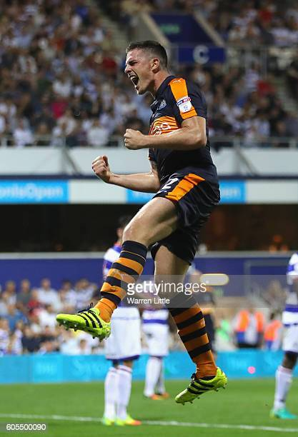 Ciaran Clark of Newcastle United celebrates scoring a goal during the Sky Bet Championship match between Queens Park Rangers and Newcastle United at...