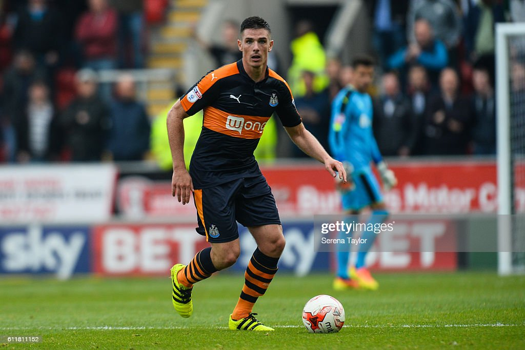 Ciaran Clark of Newcastle United (02) controls the ball during the Sky Bet Championship match between Rotherham United and Newcastle United at The New York Stadium on October 1, 2016 in Rotherham, England.