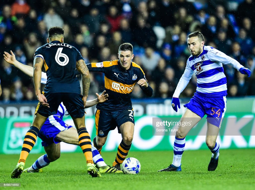 Ciaran Clark of Newcastle United (02) controls the ball during the Sky Bet Championship Match between Reading and Newcastle United at the Madjeski Stadium on March 7, 2017 in Reading, England.