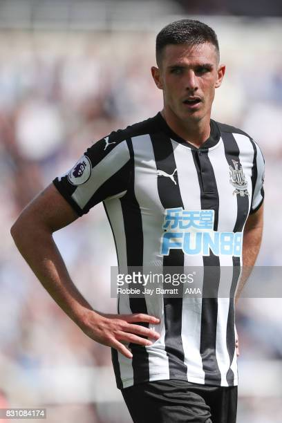 Ciaran Clark of Newcastle United during the Premier League match between Newcastle United and Tottenham Hotspur at St James Park on August 13 2017 in...