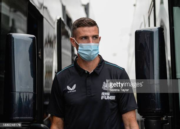 Ciaran Clark of Newcastle United FC arrives for the Pre Season Friendly between Doncaster Rovers and Newcastle United at the Keepmoat Stadium on July...