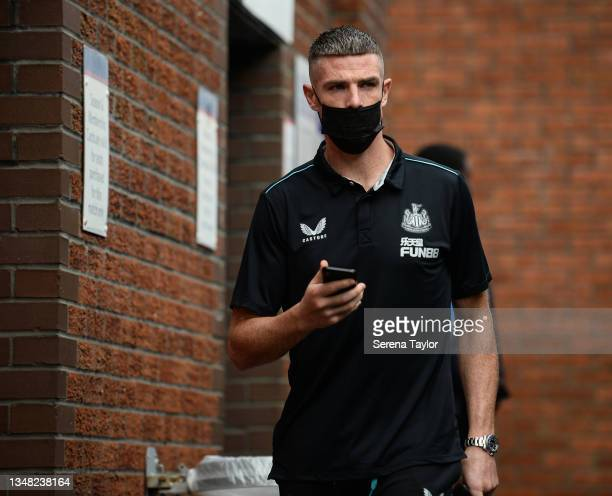 Ciaran Clark of Newcastle United FC arrives for the Premier League match between Crystal Palace and Newcastle United at Selhurst Park on October 23,...