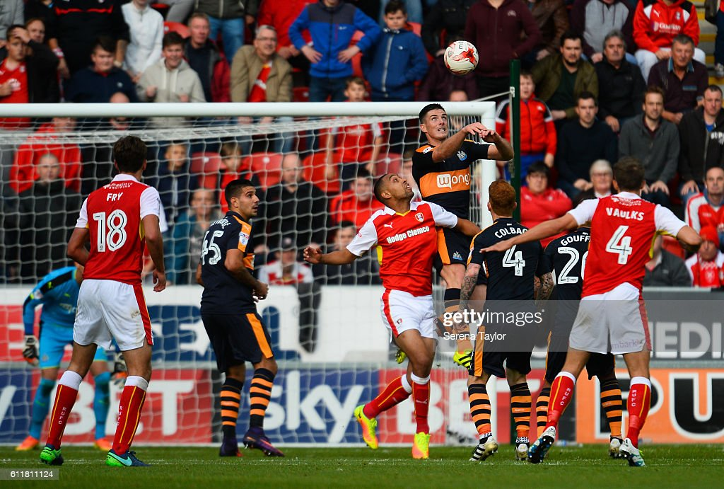 Ciaran Clark of Newcastle United (02) heads the ball clear during the Sky Bet Championship match between Rotherham United and Newcastle United at The New York Stadium on October 1, 2016 in Rotherham, England.