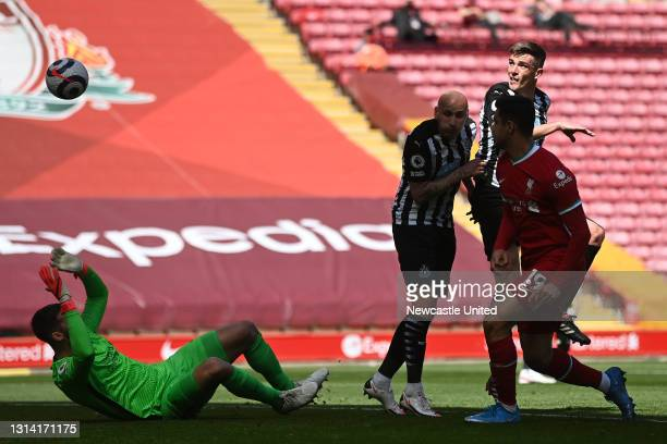 Ciaran Clark of Newcastle United heads the ball into the back of the net but the goal is disallowed due to an offside decision during the Premier...