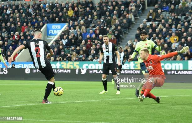 Ciaran Clark of Newcastle United scores his team's second goal during the Premier League match between Newcastle United and AFC Bournemouth at St....